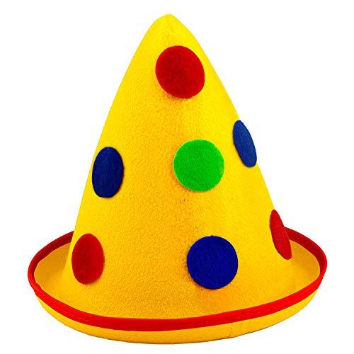 Widmann 16693 - Clown-Hut, für Erwachsene, mehrfarbig, aus Filz, mit Punkten, Hut, Mütze, Kostüm, Karneval, Mottoparty