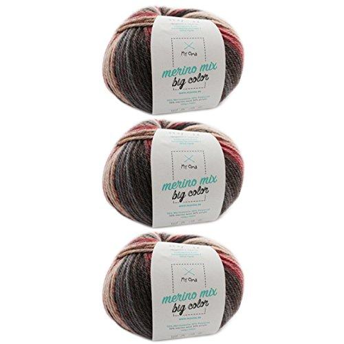 Wolle Farbverläufe * 3 Knäuel Merino Mix big Color symphony (Fb 5007) * Wolle bunt 100g/150 m + GRATIS Label - Effektgarn zum Stricken Nadelstärke 6-7 mm - Wolle bunt MyOma
