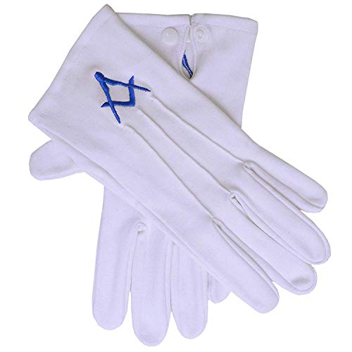 Highland Kilt Hk Freimaurer Handwerk Weiß 100% Baumwolle Handschuhe Verschiedene Design Bestickt Freimaurer - Weiße Baumwolle Handschuhe Blau (A Design), M