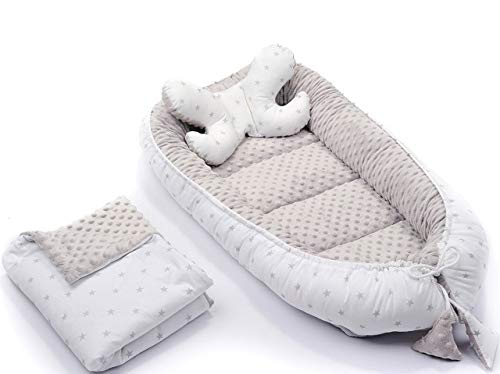 3-teiliges Babynest Set Babynestchen Kuschelnest Nest 2-seitig Minky/Baumwolle Kokon + Babydecke Bettdecke + Kopfkissen Schmetterlingskissen Komplett Set (Graue Sterne)