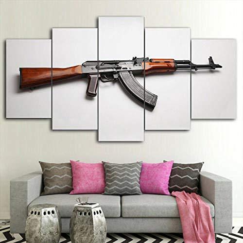 COCOCI Lienzo 5 Piezas Framed AK-47 Military Gun Lienzos Decorativos Cuadros Grandes Baratos Cuadros Decoracion Cuadros para Dormitorios Modernos Cuadros Decoracion Regalos Personalizados