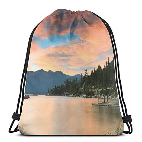Bolsa de viaje con cordón Bapa Sport Gym Cinch Bag Viaje para Mujeres Hombres Niños, Puesta de sol romántica en el lago Tahoe Peaceful Shoreline Sierra Nevada Estados Unidos