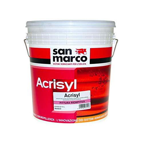 San Marco ACRISYL RIEMPITIVA Pittura per esterni riempitiva superlavabile antimuffa antialga, colore: Bianco, size: 15 lt