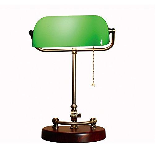 XIANGYU Traditionelle antike Bronze Bankers Schreibtischlampe Glas Schatten grün Tischlampe für Wohnzimmer Schlafzimmer Büro Studie lesen, zwei Stile zur Auswahl (Farbe : Grün)