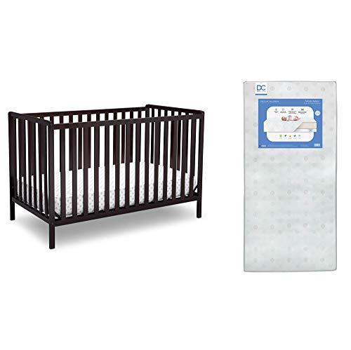 Delta Children Heartland 4-in-1 Convertible Crib, Dark Chocolate + Delta Children Twinkle Galaxy Dual Sided Recycled Fiber Core Crib and Toddler Mattress (Bundle)