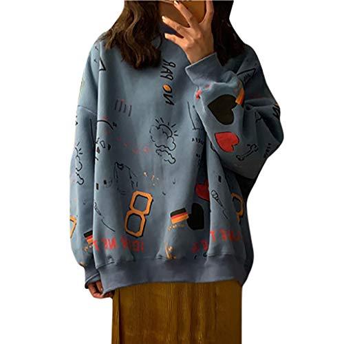 FRAUIT Damen Pullover Mädchen Karikaturdruck Sweatshirt Beiläufige Lose Langarmshirt Herbst Winter Pulli Mode Elegant Casual Festlich Party Kleidung Bluse Top