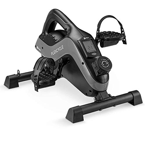 Under Desk Bike Pedal Exerciser - FlexCycle Plus Exercise Bike Stationary Magnetic Cycle with LCD Monitor & Resistance Bands for Arm & Leg Recovery & Therapy - Foot Pedal Exerciser for Home (Grey)