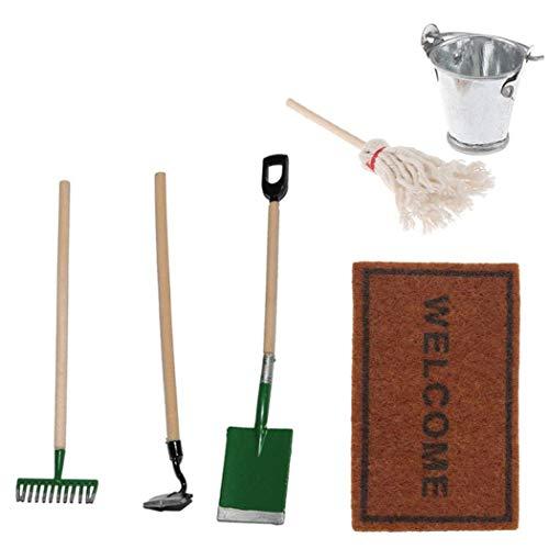 Suministros de Juguete Mini Herramientas casa de muñecas en Miniatura Granja Jardinería Juego de Limpieza de alfombras Escoba Accesorios de Trabajo Modelo de Simulación