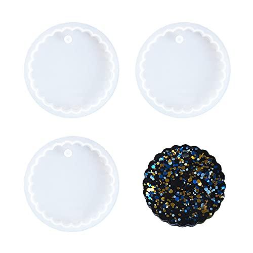 Nifocc 3 stampi a forma di cerchio in silicone a forma di croce geometrica, in resina, da appendere con fori per fai da te, gioielli fai da te, decorazione per la casa