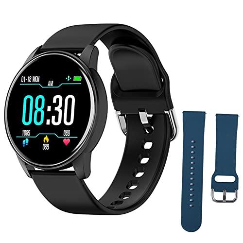 Pulsera inteligente salud y la aptitud SmartWatch inteligente Relojes de silicona Deportes ZL01 con azul de repuesto Correa rastreador de ejercicios de ritmo cardíaco Prueba podómetro Hombres Negro
