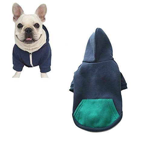 meioro Dog Clothes Hoodies Pet Cat Warm Soft Cotton Zipper Sweater Coat French Bulldog Pug (M, Dark Blue)