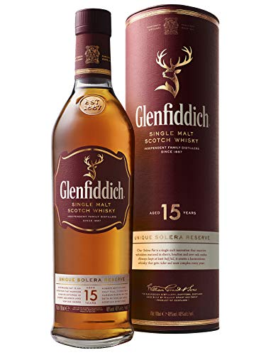 Glenfiddich Single Malt Scotch Whisky 15 Jahre Solera – der am häufigsten ausgezeichnete Single Malt Scotch Whisky der Welt, 1 x 0,7 l, 40{27a2c90cba8c3e32b75bea0715392e0f1c28f7390f4ee3f51d2e372515aad84c} Vol.