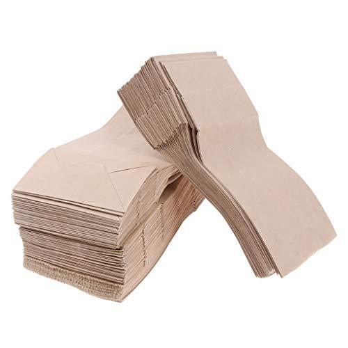 MagiDeal 100 STK. Verpackungsbeutel Packpapier Beutel Papierbeutel Fettbeständig Lebensmittel Verpackungen Flachbeutel Faltenbeutel - Braun 9x5.5x18cm