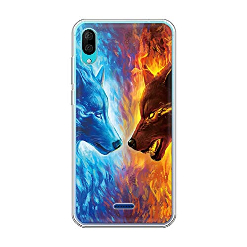 Pnakqil Hülle kompatibel mit WikoY80 Phone, Silikon Schutzhülle TPU Clear Transparent Kratzfest Ultra Dünn Stoßfest Motiv Muster Handyhülle Weiche für WikoY80,Wolf