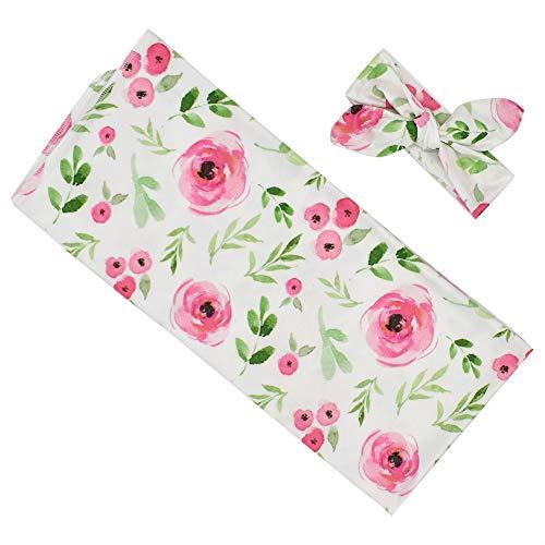 Neugeborene Empfangsdecke 3 Stück Blumenmuster Säuglingswickeldecke mit Schleifenstirnbändern für Baby Mädchen