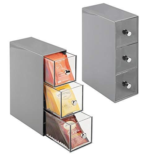 mDesign - Theedoos - ladekastje/opbergbox/organizer - voor de keuken - voor verschillende soorten theezakjes, koffiepads, zoetjes en meer - handig/stevig - grijs/doorzichtig - per 2 stuks verpakt