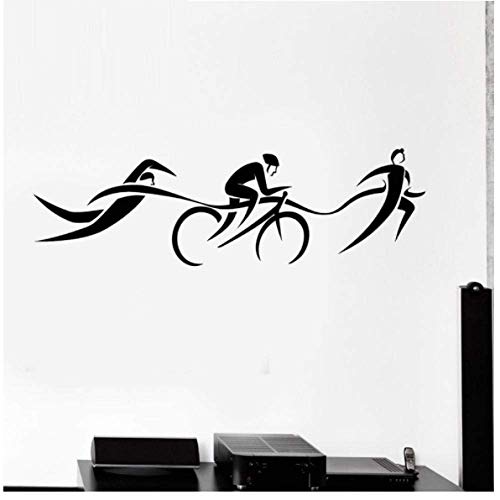 Triathlon Wandaufkleber Aufkleber Schwimmen Poster Vinyl Wandtattoos Dekor Wandbild Triathlon Auto Aufkleber 58x18cm