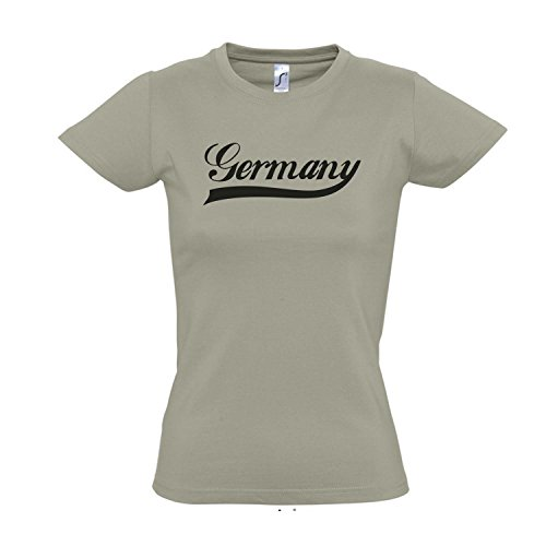 Damen T-Shirt - Deutschland Oldschool Germany LÄNDERSHIRT EM / WM FAN Trikot S-XXL , Khaki - schwarz , XL