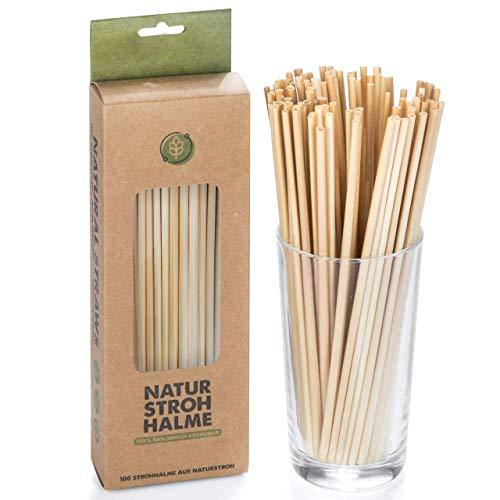 100 pezzi Set di cannucce di grano BiO riutilizzabili Set di cannucce da bere ecologico