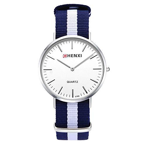 SJXIN Damenuhr Coole stilvolle Uhr, Watch Nylonband Uhr Streifen Mode Männer und Frauen Quarz Uhr 076A Zopf Mode Uhren (Color : 2)