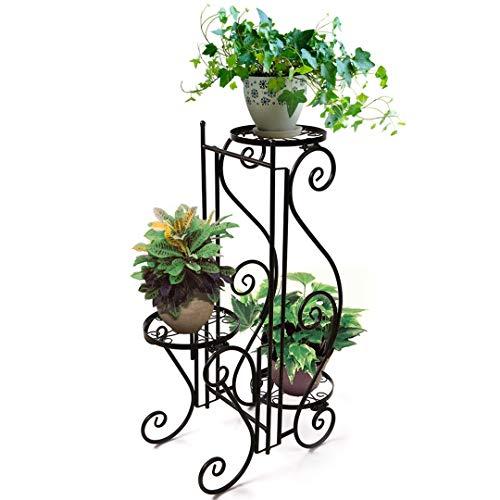 HAHAHA AH Portavaso in Metallo Fioriera Decorazione per 3 Vasi di Piante da Giardino Terrazza, Marrone
