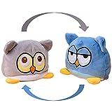 KUNSTIFY Búho de peluche reversible para niñas, mujeres, niños y bebés, regalo para novia, búho, azul/gris