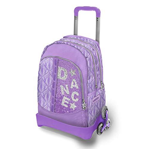 DIMENSIONE DANZA SISTERS, Zaino scuola con paillettes lilla, trolley bambina spazioso con 2 ruote triple, spallacci imbottiti e tasche laterali, zaino impermeabile, Dimensioni 54x37,5x25 cm