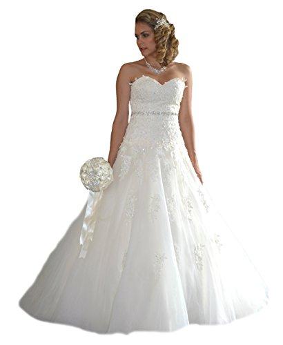 Unbekannt Brautkleid Braut Schleppe neu Hochzeitskleid Gr. 34-48 Spitze Braut Kleid Hochzeit (34, Ivory)