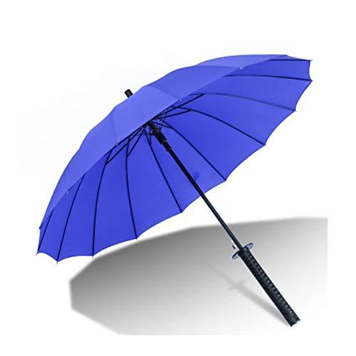 MAWA Creativo Mango Largo Grande a Prueba de Viento Samurai Espada Paraguas Sol Lluvia Paraguas Recto Abre automáticamente 16K 24K Parasol - 16K Azul