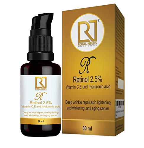 ROYAL NEEDS Retinol 2.5% +Vitamin C & E, Hyaluronic, glycolic acid facial serum (30ml) Deep wrinkle repair, acne treatment,Boost collagen,anti aging, skin lightening brightening serum