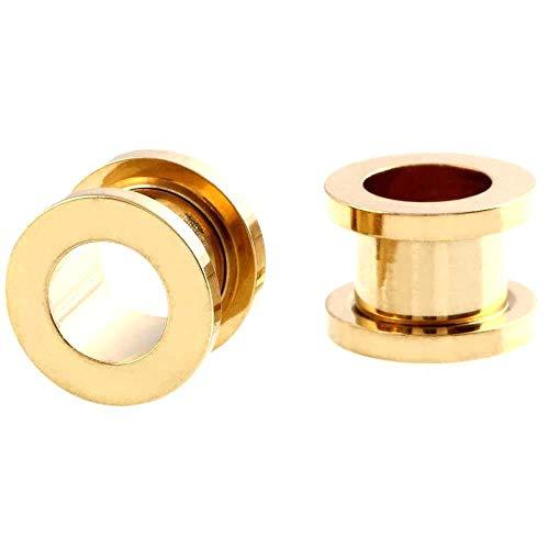 Oreja Dilataciones 1 Uds 2-30mm medidores de oreja de acero inoxidable 316L tapones para túneles de oreja joyería piercing ensanchadores de oreja tapones expansores y túneles-Un oro_8 mm