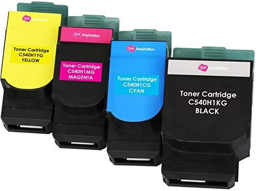 4er Set Premium Toner kompatibel für Lexmark C540n, C543dn, C544dn, C544dtn, C544dw, C544n, C546dtn, X543dn, X544dn, X544dtn, X544dw, X544n, X546dtn | Schwarz 2.500 Seiten & Color je 2.000 Seiten