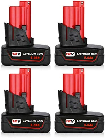 4Pack 12V 5.0Ah M-12 メーカー直売 Lithium 保証 Milwaukee Replacement for Ba 12Volt