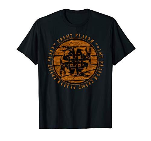 Viking Celtic Dragon Knot Wooden Distressed Runes T-Shirt