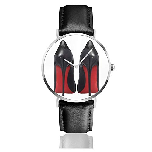 Reloj de cuero con suela roja y tacón DesignerFashionTrendyHipster Meme unisex clásico casual de moda reloj de cuarzo de acero inoxidable con correa de cuero