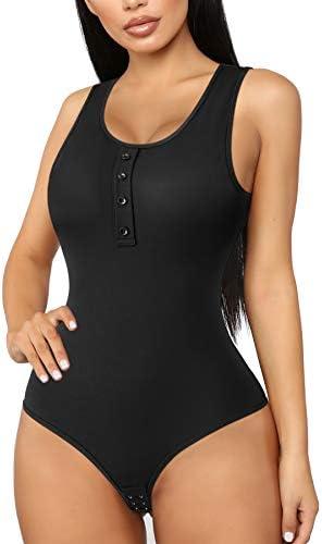 Irisnaya Body Shaper for Women Scoop Neck Sleeveless Bodysuit Button Tank Top Shapewear Thong product image