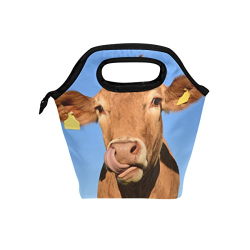 HEOEH Funny Animal Cow Blue Sky Lunch Bag Cooler Tote Bag Insulated Zipper Lunch Boxes Handbag for Outdoors School Office