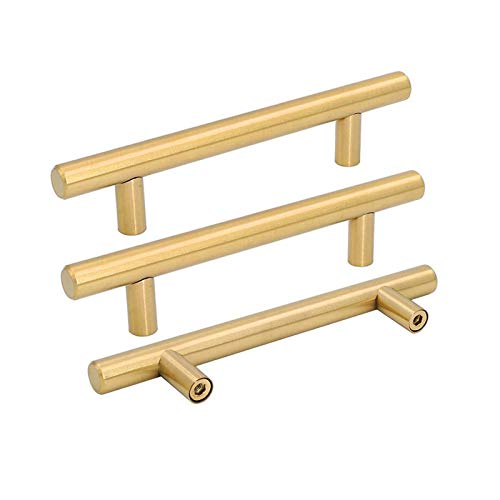 Pack of 15 Brushed Brass Cabinet Handles Dresser Pulls Gold 96mm Bar Handles for Kitchen Cupboard - LS201GD96 Modern Furniture Hardware Bedroom Closet Door Pulls, 3-3/4'' Hole Centers