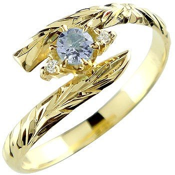 リング イエローゴールドk18 ピンキーリング 指輪 リング 18k 18金 手彫り 12月誕生石 ハワイアン タンザナイト 5