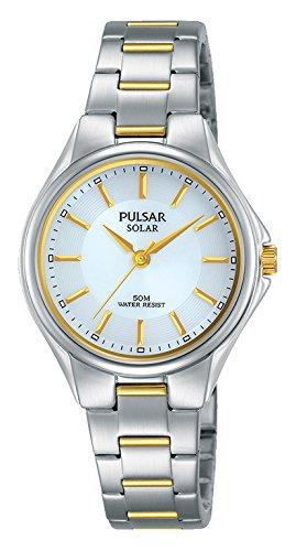 Pulsar Damen Analog Solar Uhr mit Edelstahl Armband PY5035X1