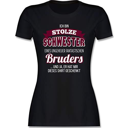 Schwester & Tante - Ich Bin stolze Schwester - L - Schwarz - Schwester t-Shirt - L191 - Tailliertes Tshirt für Damen und Frauen T-Shirt