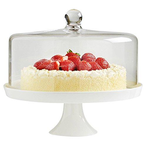 VonShef Présentoir à Gâteau en Céramique Blanche et Couvercle Dôme en Verre - 30 cm