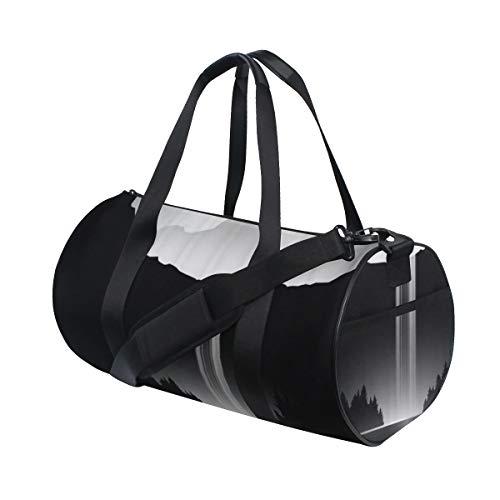 HARXISE Paisaje oscuro mínimo con cascada Lago Pico de montaña,Bolsa de equipaje de viaje Deporte Lienzo ligero Equipaje de fitness Bolso de tambor Desmontable