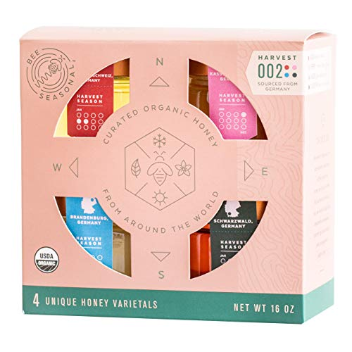 Bee Seasonal Harvest 002 Organic & Raw Honey Gift Box - 4 Pack