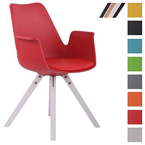 CLP Esszimmerstuhl Prince Kunststoff Square I Sitzpolster mit Kunstlederbezug I Besucherstuhl mit eckigen Buchenholzgestell Rot, weiß