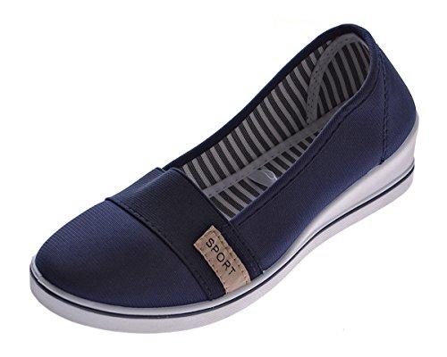 Damen Keil Ballerina Leinenschuhe Halb Schuhe Blau Wedges Stoffschuhe Gummizug Gr. 38