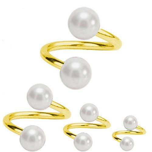 Piercing-Spirale Titan Vergoldet 1,2 mm Spirale mit Perlen Weiß | 6-12 mm, Durchmesser:6.0 mm, Kugelgröße:3.0 mm