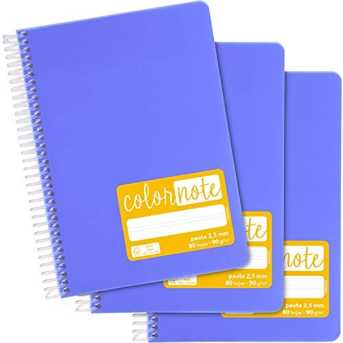 Grafoplás 98537364. Pack de 3 Cuadernos Escolares A5, Pauta 2,5mm, Tapas Polipropileno, Color Lavanda, Serie Color Note