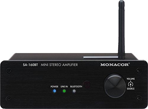 MONACOR SA-160BT mini stereo versterker, 2 x 30 W zwart