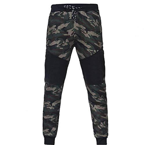 Odoukey Pantalones para Hombre al Aire Libre Que empalma con cordón elástico de la Cintura los Pantalones de Entrenamiento Sweatpant Verde XL